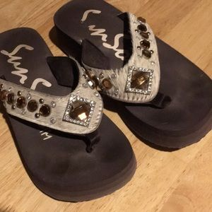 Sunsole flipflops horsehair with bling